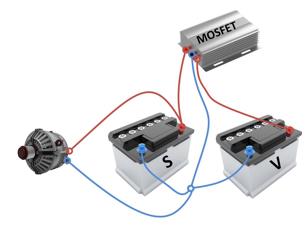 Schaltung mit MOSFET-Trenntransistoren.