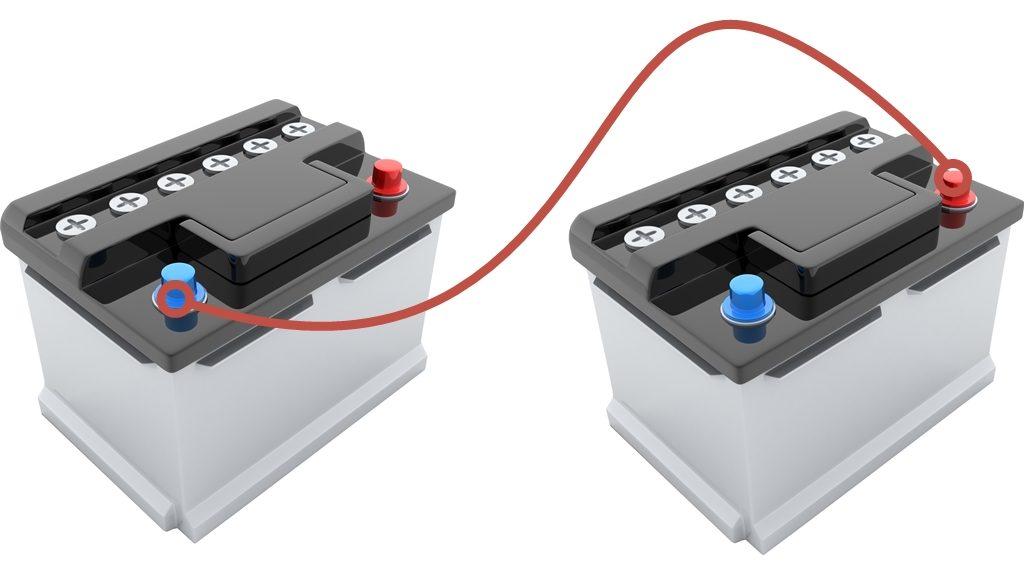 Doppelbatteriesystem - Reihenschaltung von Akkus.