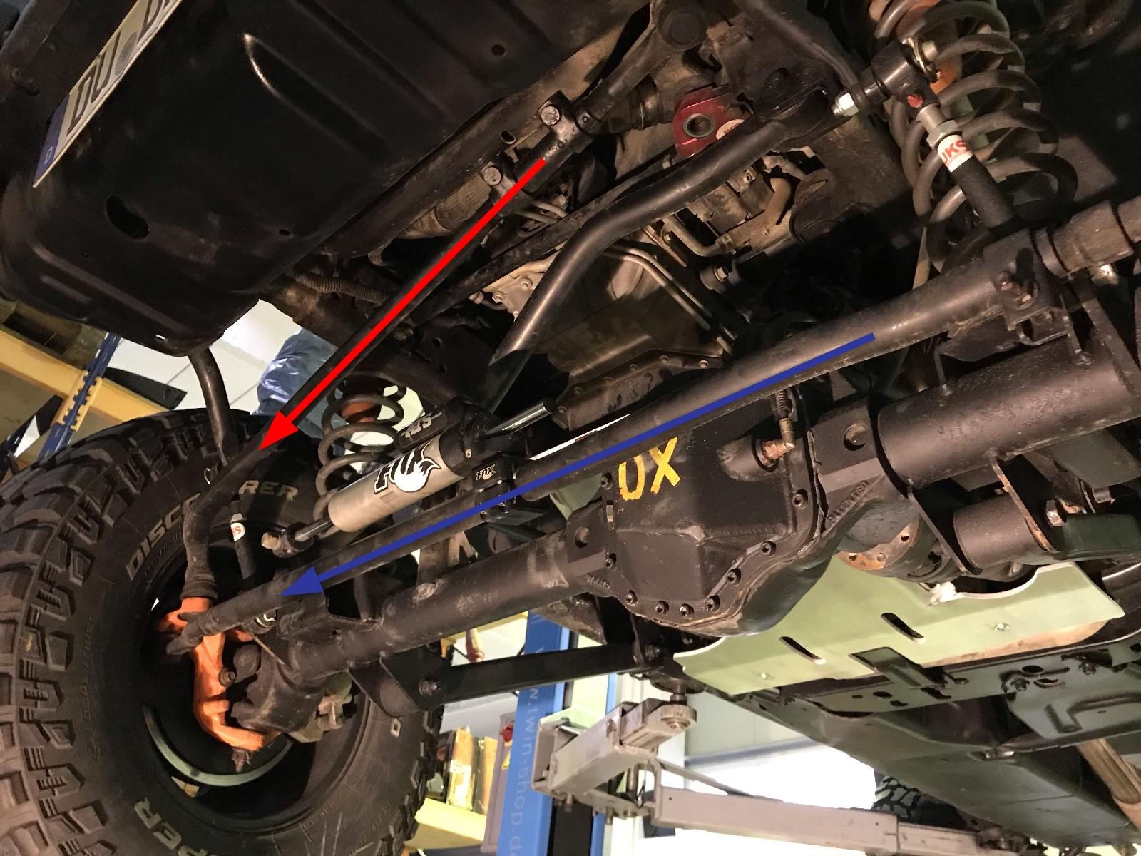 Beim Jeep Wrangler liegen Lenkstange und Spurstange vor der Achse.