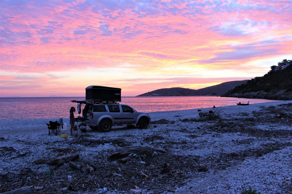 Abendquartier am Strand von Borsh