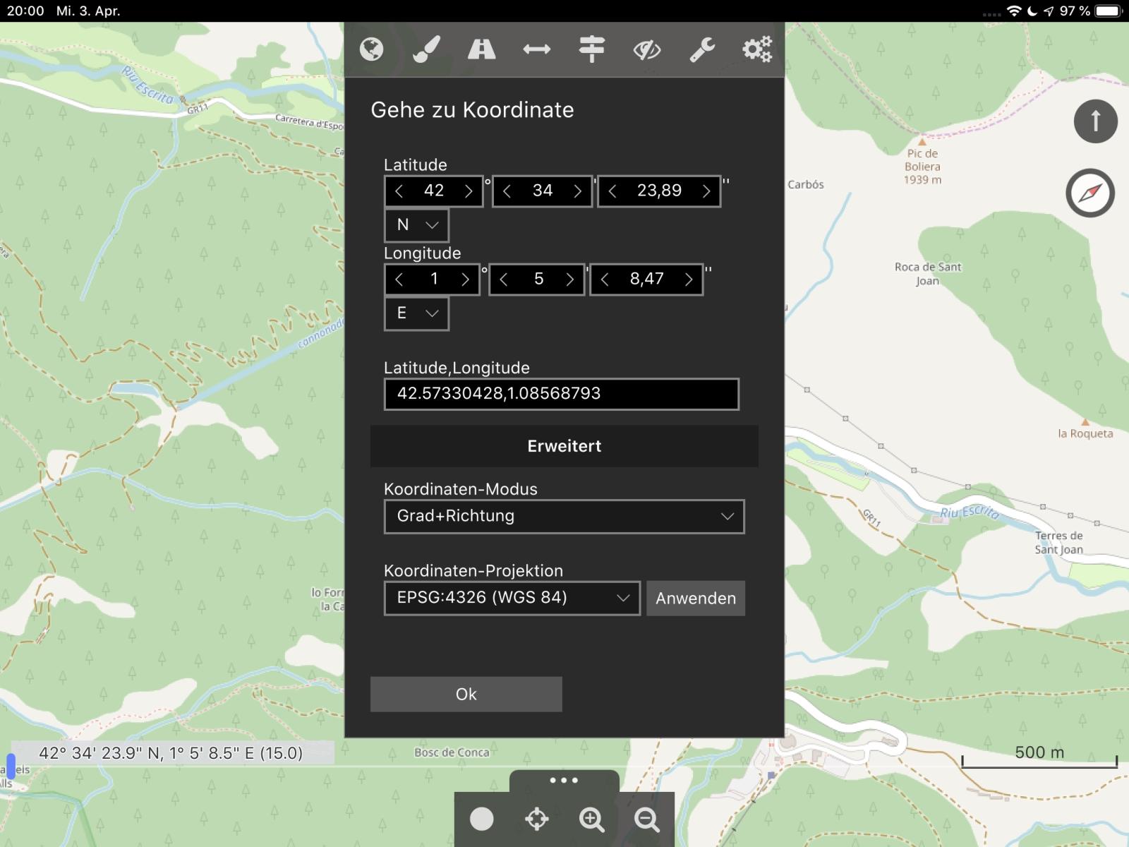 Offroad-Navi-App Cartograph - Es werden drei geografische Koordinaten-Formate unterstützt.