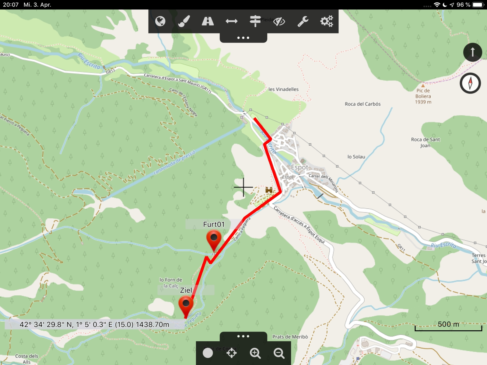 Offroad-Navi-App Cartograph - Selbstgeplante Route in Cartograph.