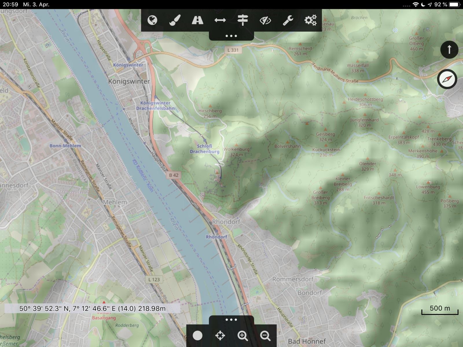Offroad-Navi-App Cartograph - Die Cartograph-Oberfläche.