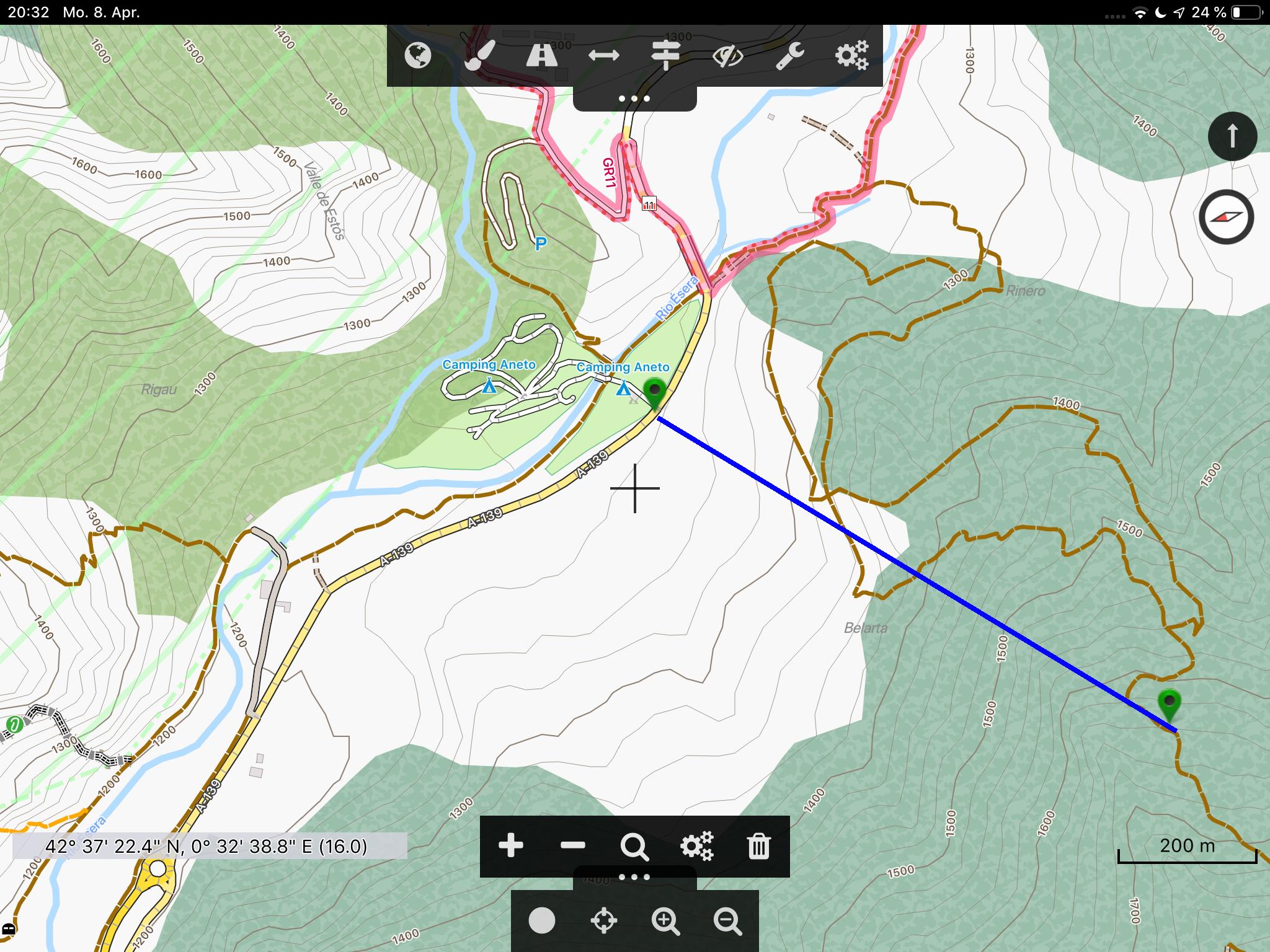 Offroad-Navi-App Cartograph - Trotz Bewegung nur ein Fadenkreuz und keine Zielführungslinie.