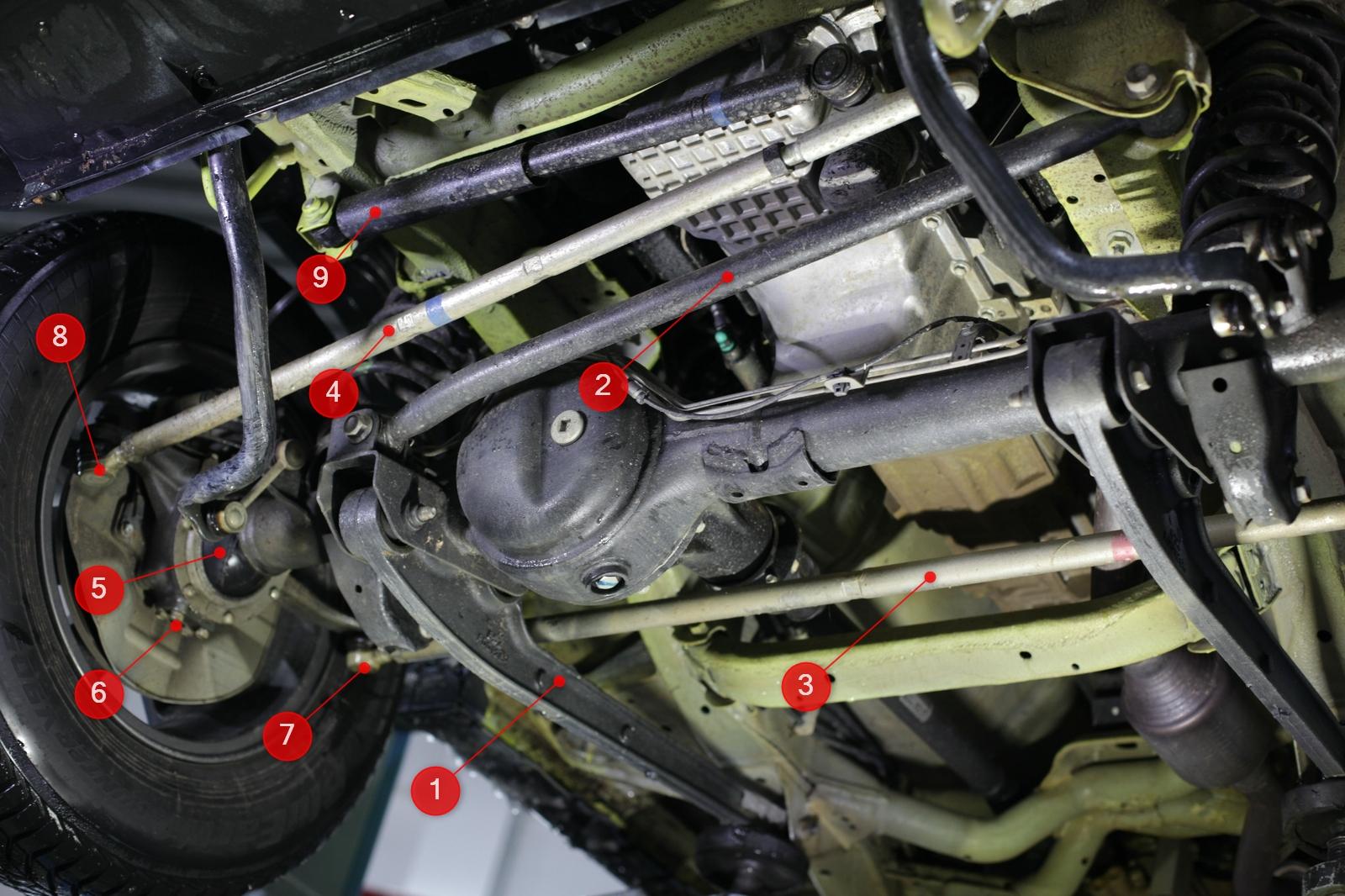 Death Wobble - Wichtige Teile der Vorderachsführung und Lenkung am Beispiel des Suzuki Jimny GJ.