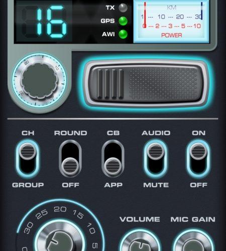 Midland - Die Oberfläche der CB-Funk-App im Kanalmodus.