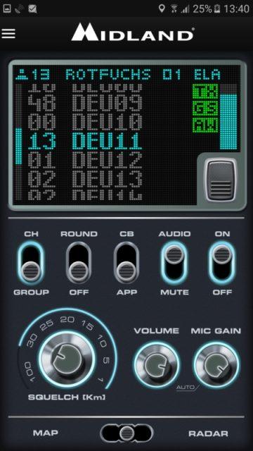 Midland - Die Oberfläche der CB-Funk-App im Gruppenmodus.