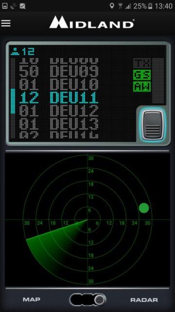 Midland - Das Radar kann alle Gruppenpartner im Umkreis von 30 km anzeigen.