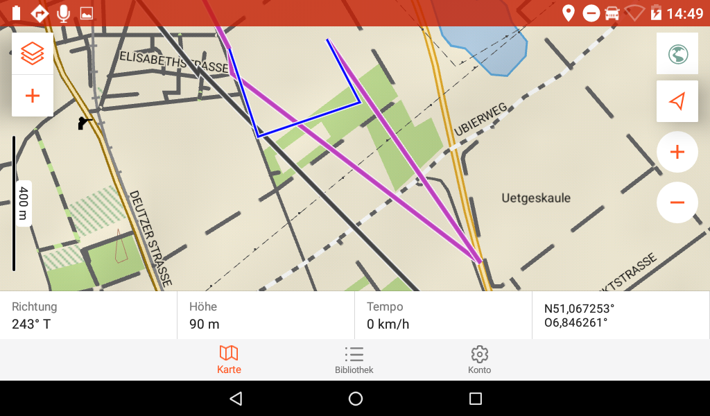 Garmin Overlander im Test - Beim zurückschalten in die Explore-App sieht die Drive Route dann fehlerhaft aus.