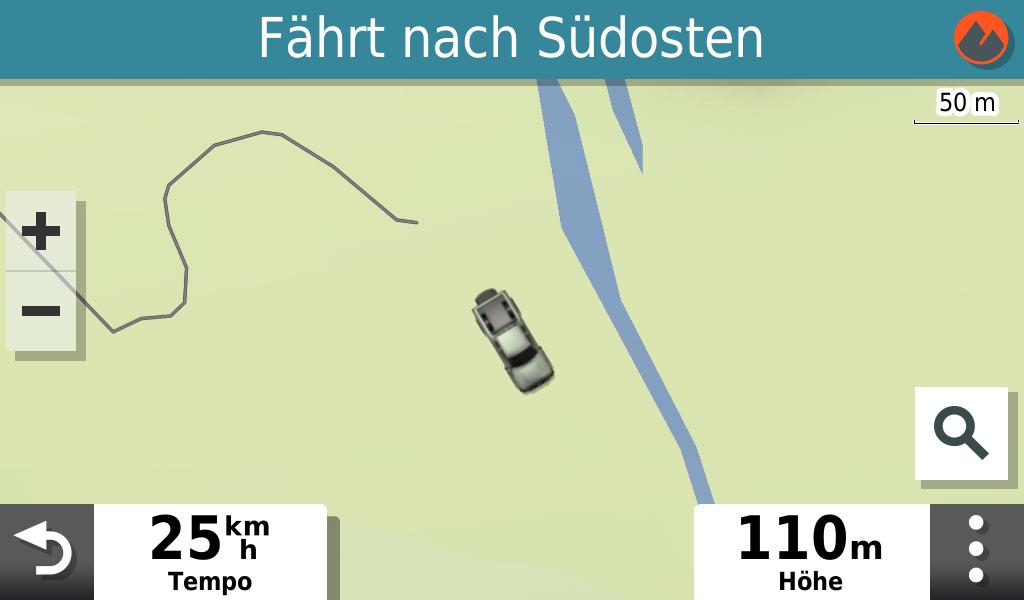 Garmin Overlander im Test - Offroad ist eben offroad - hier gibt die Straßenkarte auf.