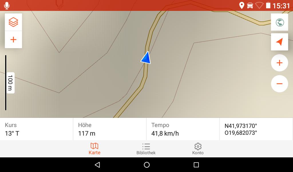Overlander im Test - Die OSM-Karte bei 100 m Skalierung.
