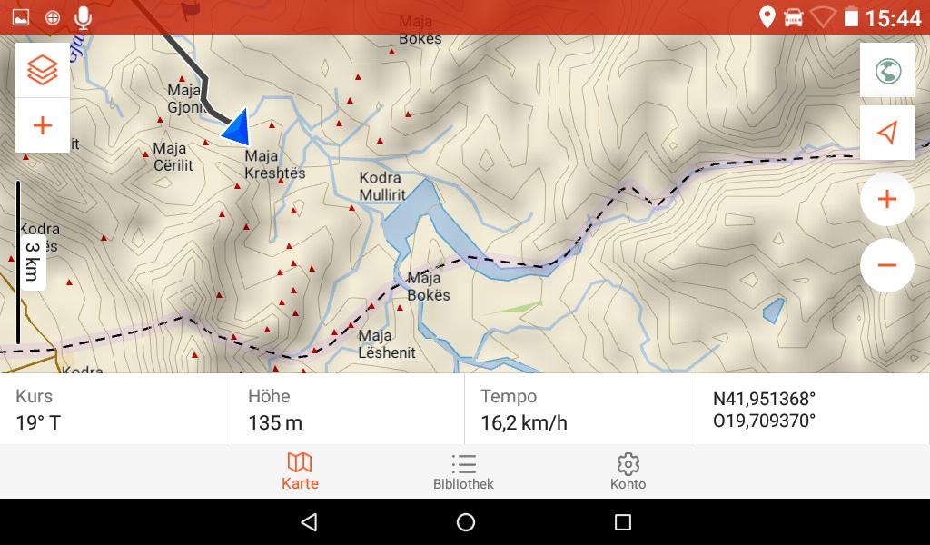 Garmin Overlander im Test - Die OSM-Karte bei 3 km Skalierung.