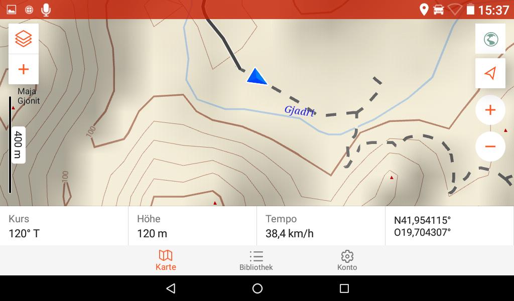 Garmin Overlander im Test - Die OSM-Karte bei 400 m Skalierung.