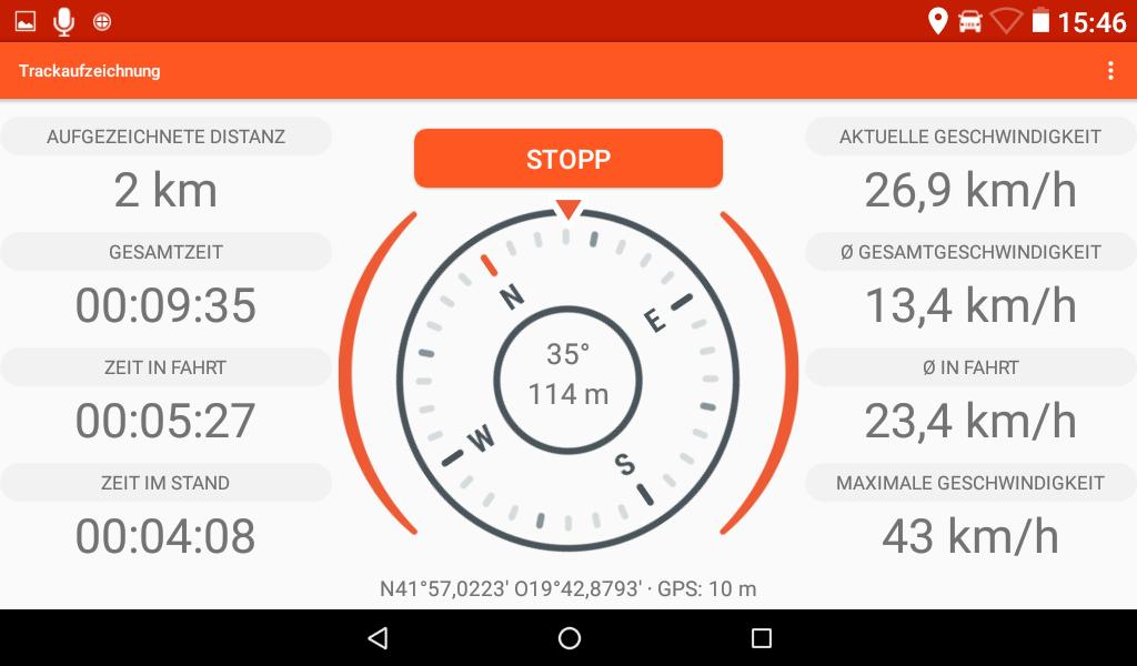 App für die Trackaufzeichnung.