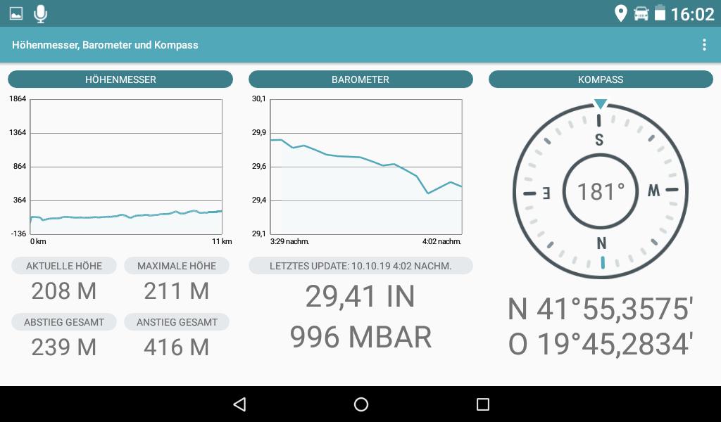 Garmin Overlander im Test - Die ABC-App mit Umgebungsinformationen und Kompass.