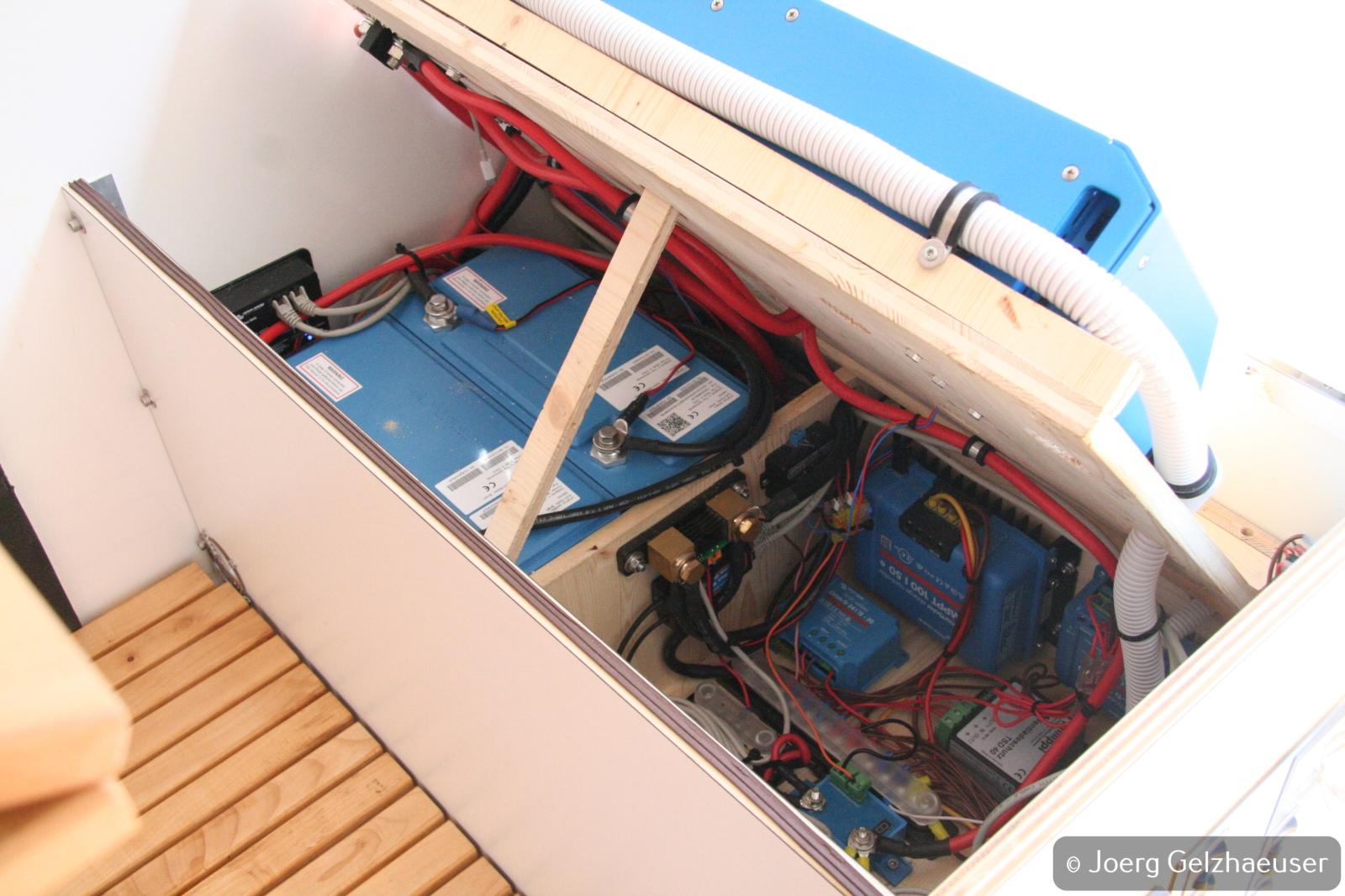 Unimog - Das universelle Motor-(Fernreise)-Gerät - Darunter die LiFePo Akkus, MPPT Solarregler, 24-12/12-24 Ladegeräte, Tiefentladeschutz und Batterieschutz.