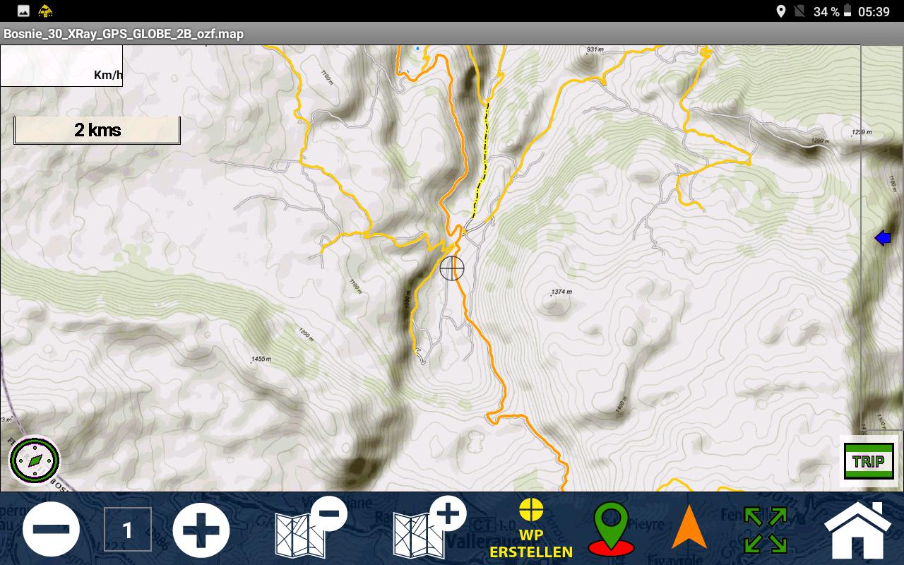 Orašac - Das Gebiet um Orašac, mit der Bergkette im Süden - 1:30.000 GPS Globe X-Ray.