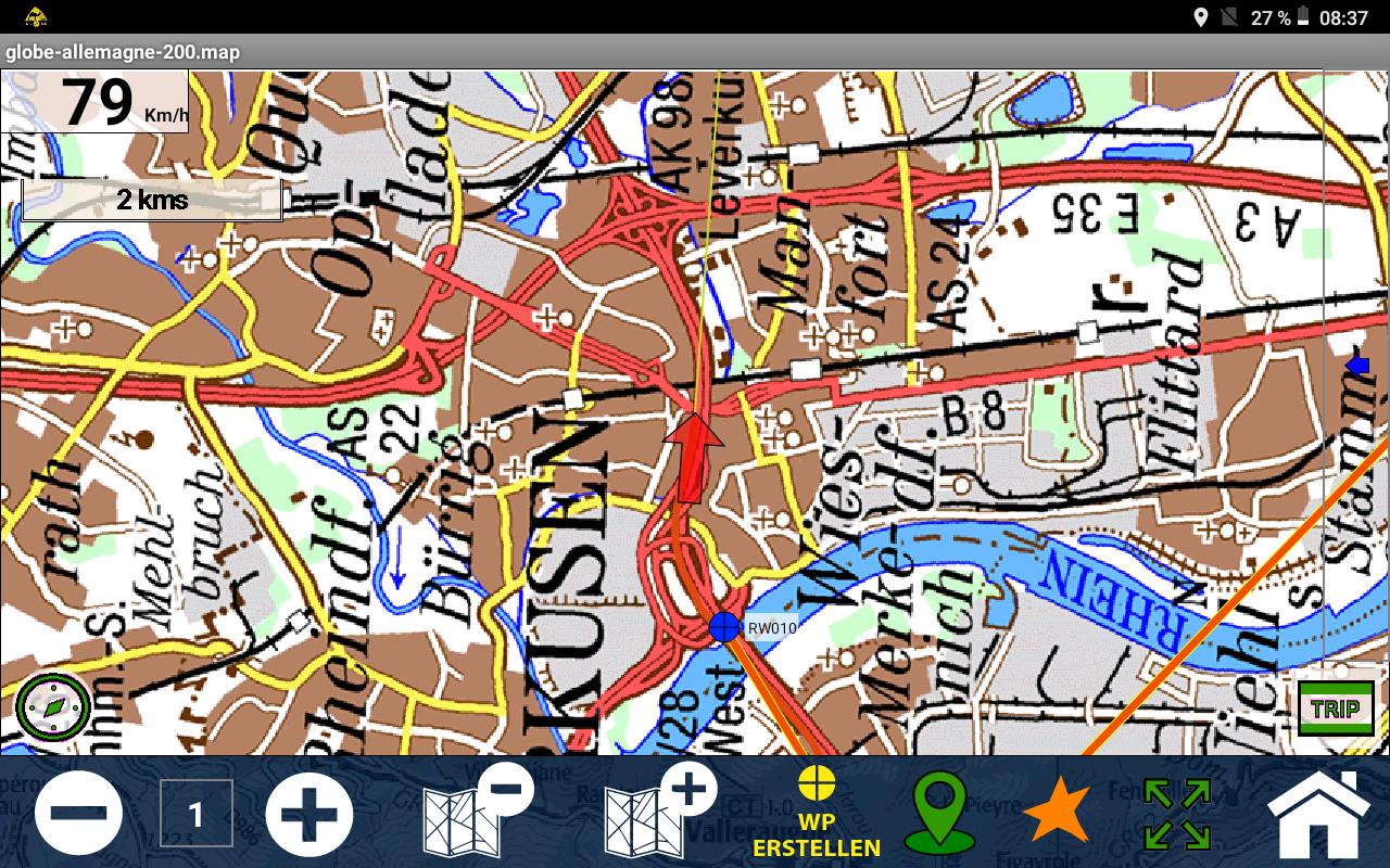 Offroad-Navigation mit Android- Das passiert bei Abbildern von Papierkarten.