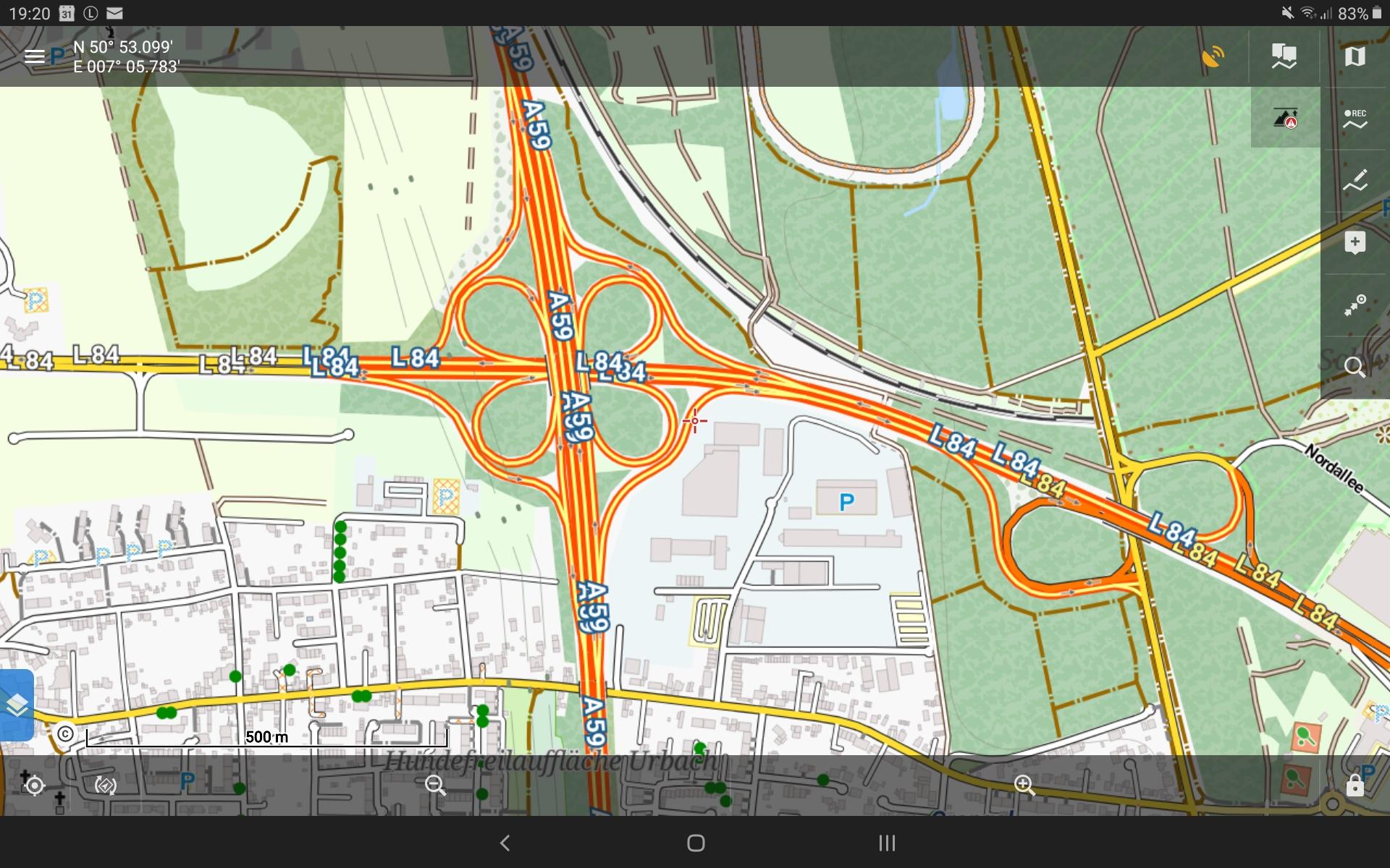 GPS Globe X8 im Test - Der Ausschnitt als Vektorkarte.
