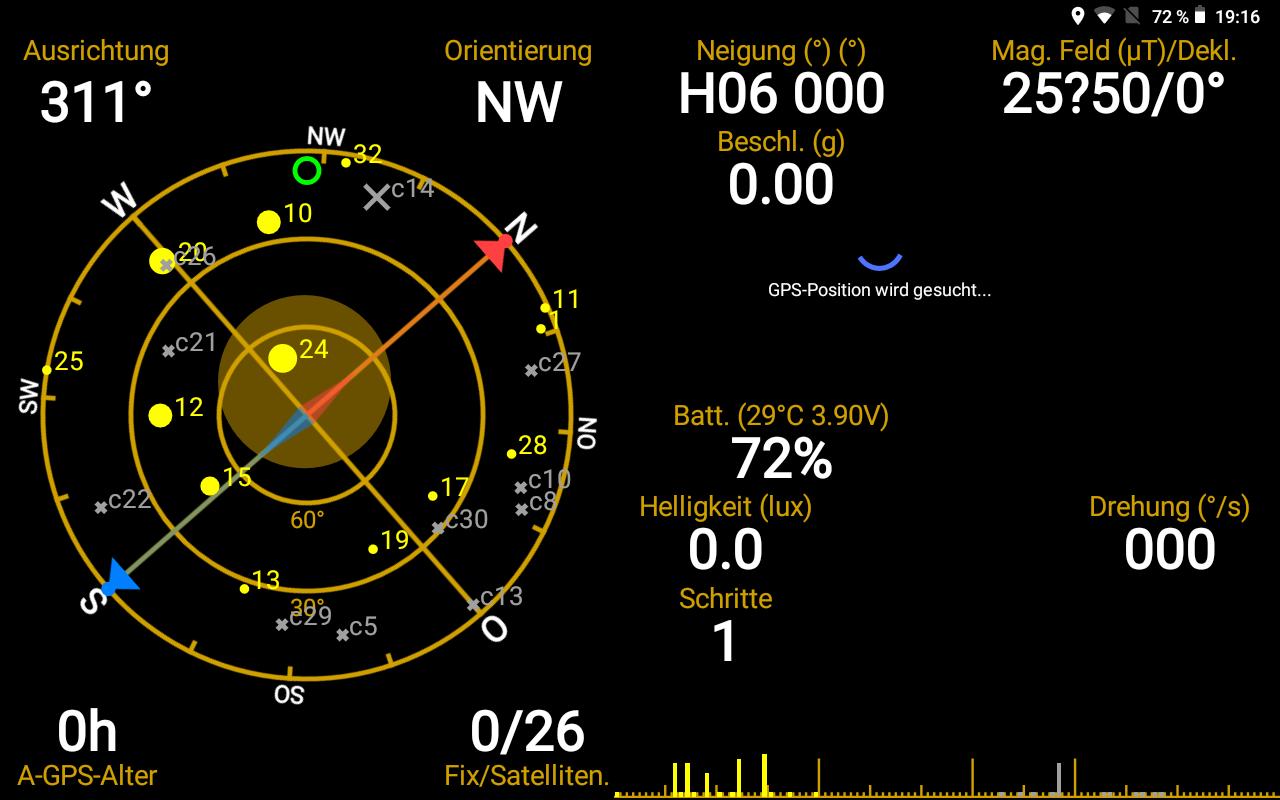 Das GPS Status Tool zeigt es: GPS und Beidou.