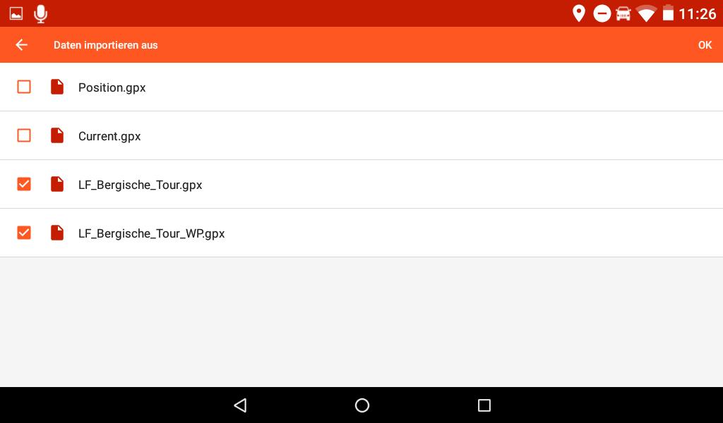 Garmin Overlander Update 3.60 - GPX-Dateien können einzeln ausgewählt werden.