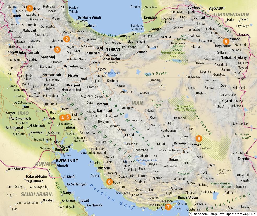 Übersicht der besuchten Highlights – Karte erstellt mit www.mapz.com