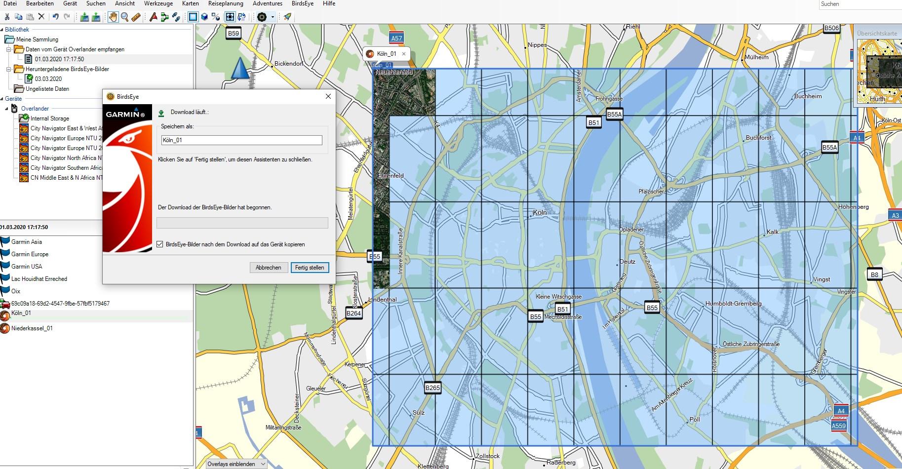 Garmin BirdsEye Satellitenkarten für das Overlander - Bereich auswählen undherunterladen.