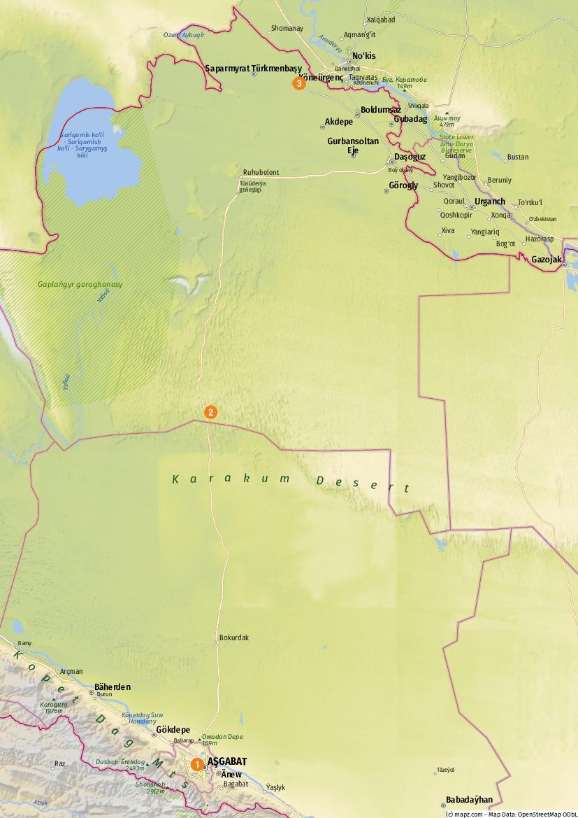 Turkmenistan - Übersicht der besuchten Highlights - Karte erstellt mit www.mapz.com.