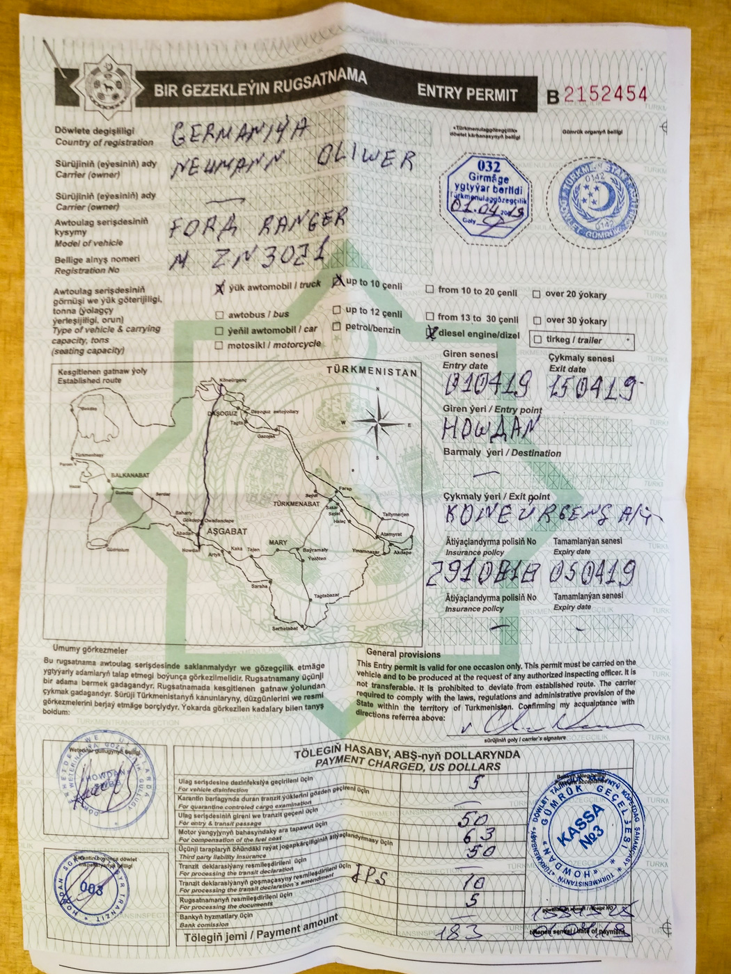 Turkmenistan, Einreiseerlaubnis mit definierter Route und Gebühren.