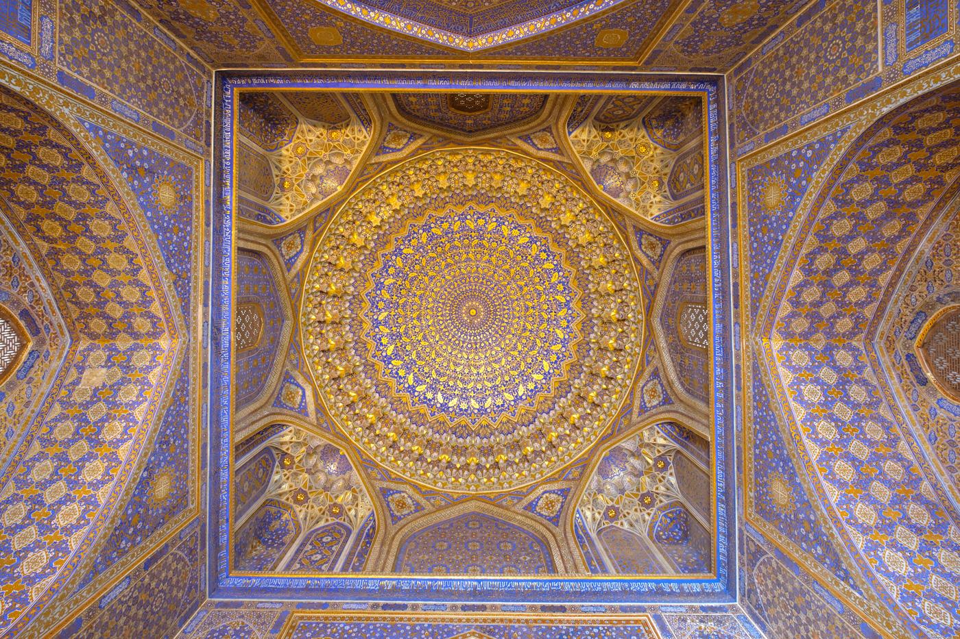 Usbekistan, Zentrum der Seidenstraße - Kuppel der Moschee der Tilya-Kori-Medresse.