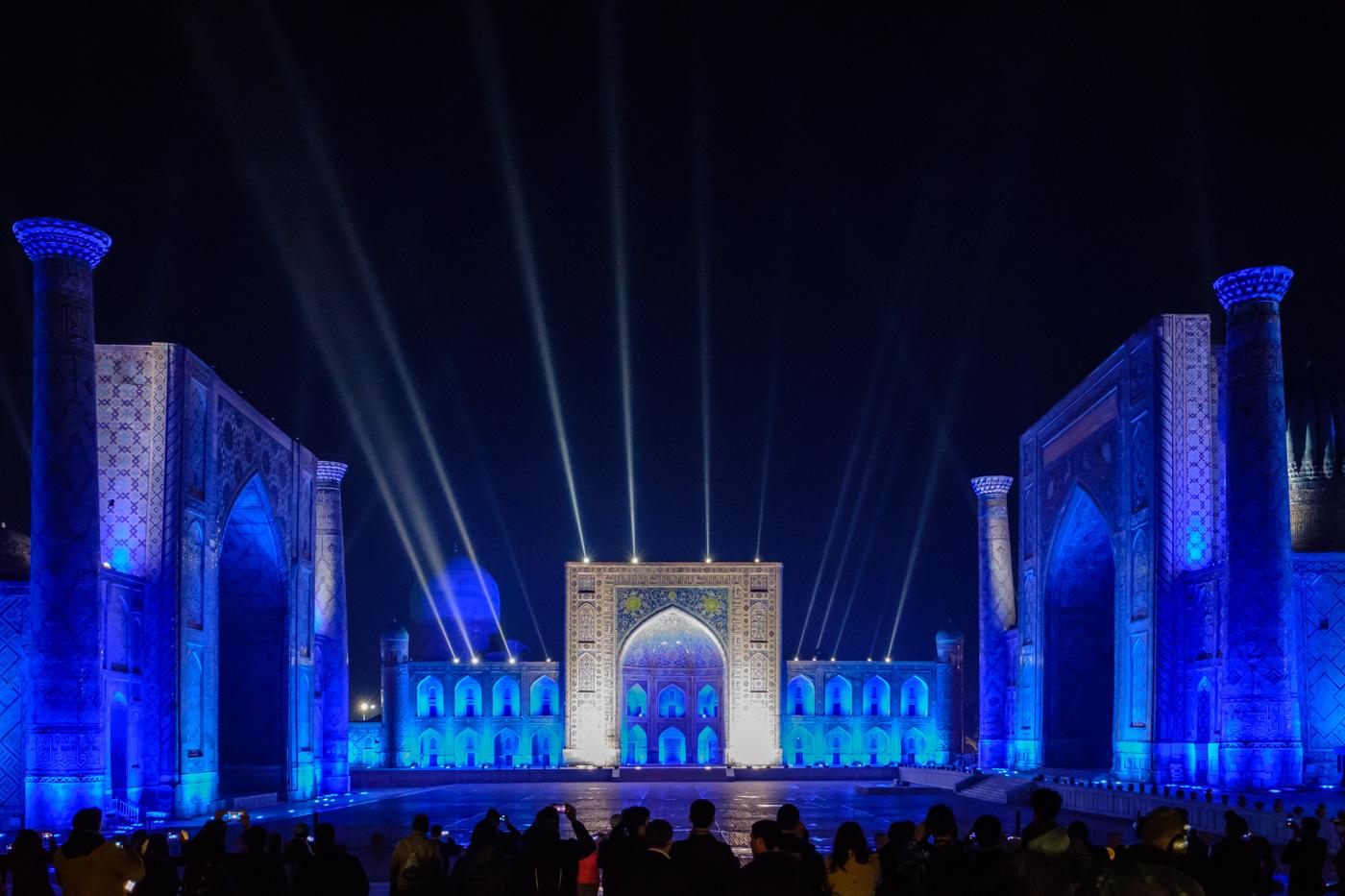 Usbekistan, Zentrum der Seidenstraße - Lightshow am Registan.