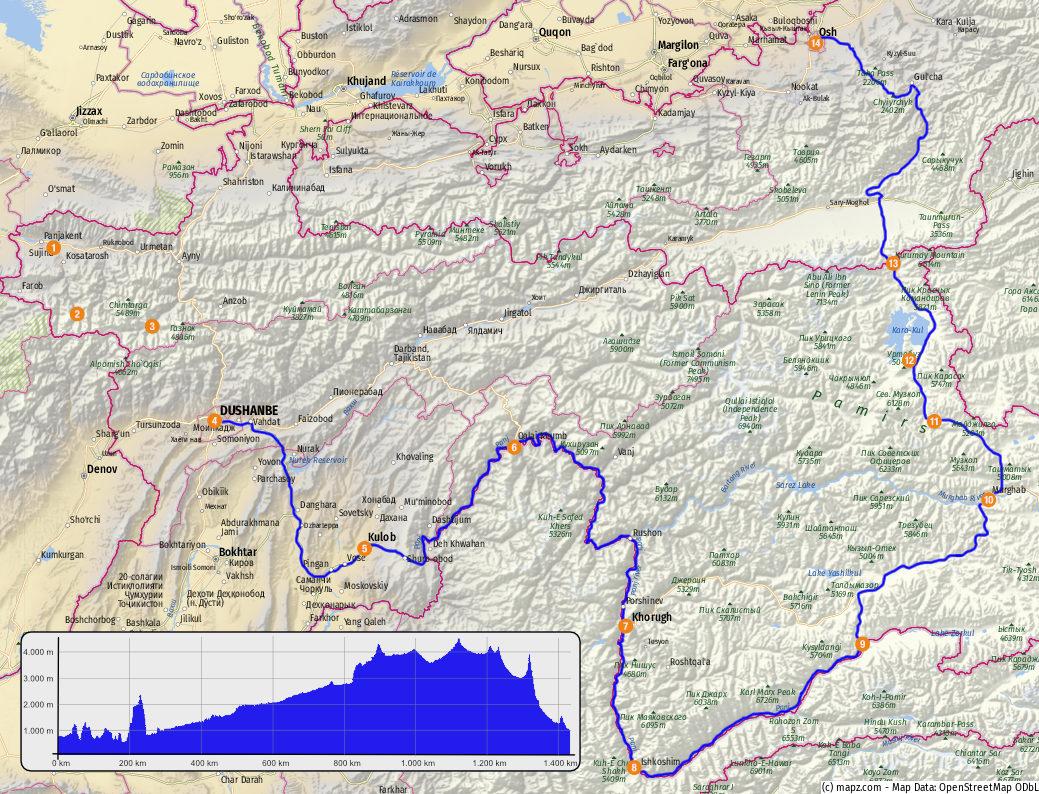 Route über den Pamir Highway inklusive Höhenprofil – Karte erstellt mit www.mapz.com .