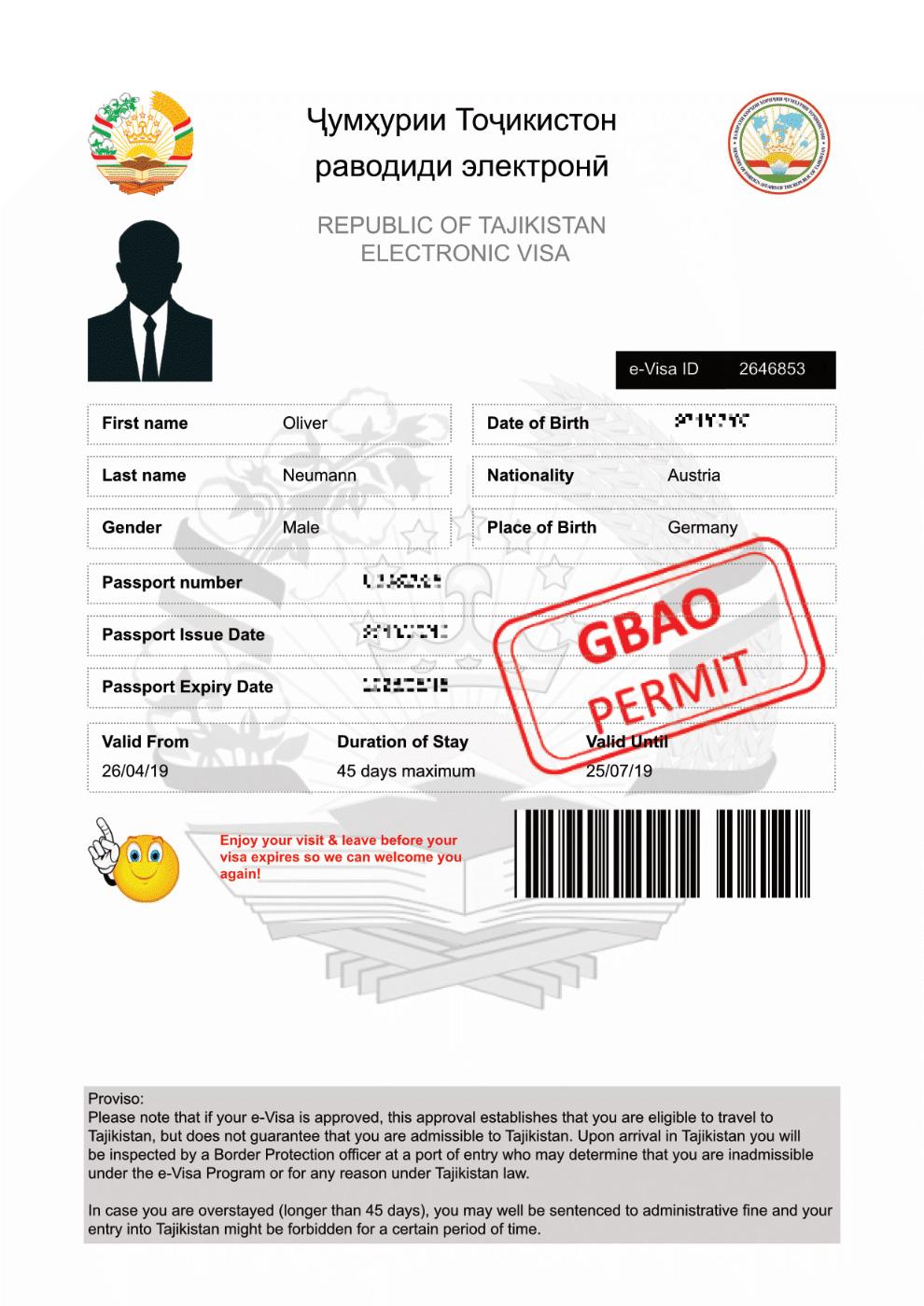 E-Visum von Tadschikistan, ein offizielles Dokument, auch wenn es mit einem Emoticon verziert ist.