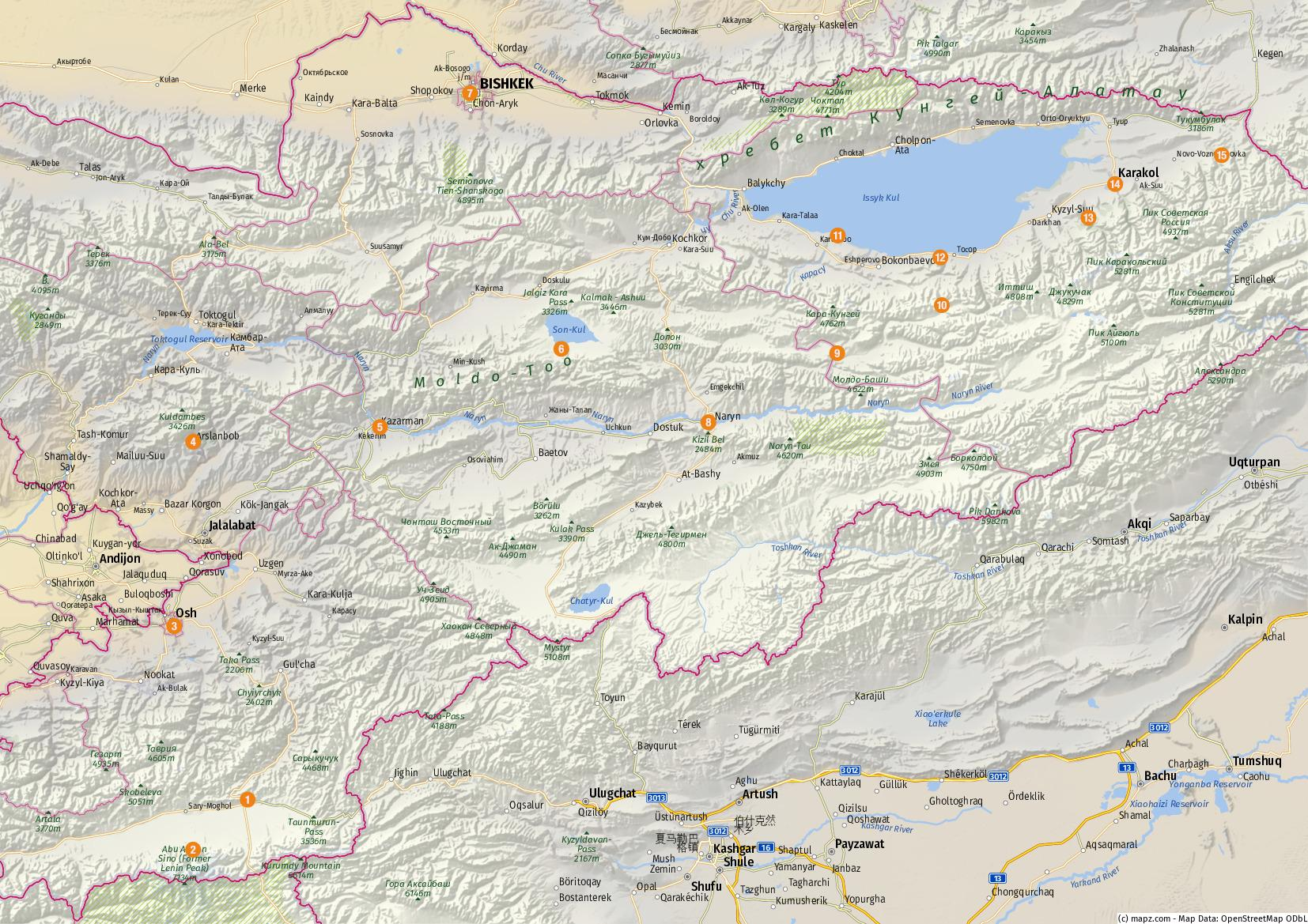 Übersicht der besuchten Highlights – Karte erstellt mit www.mapz.com.