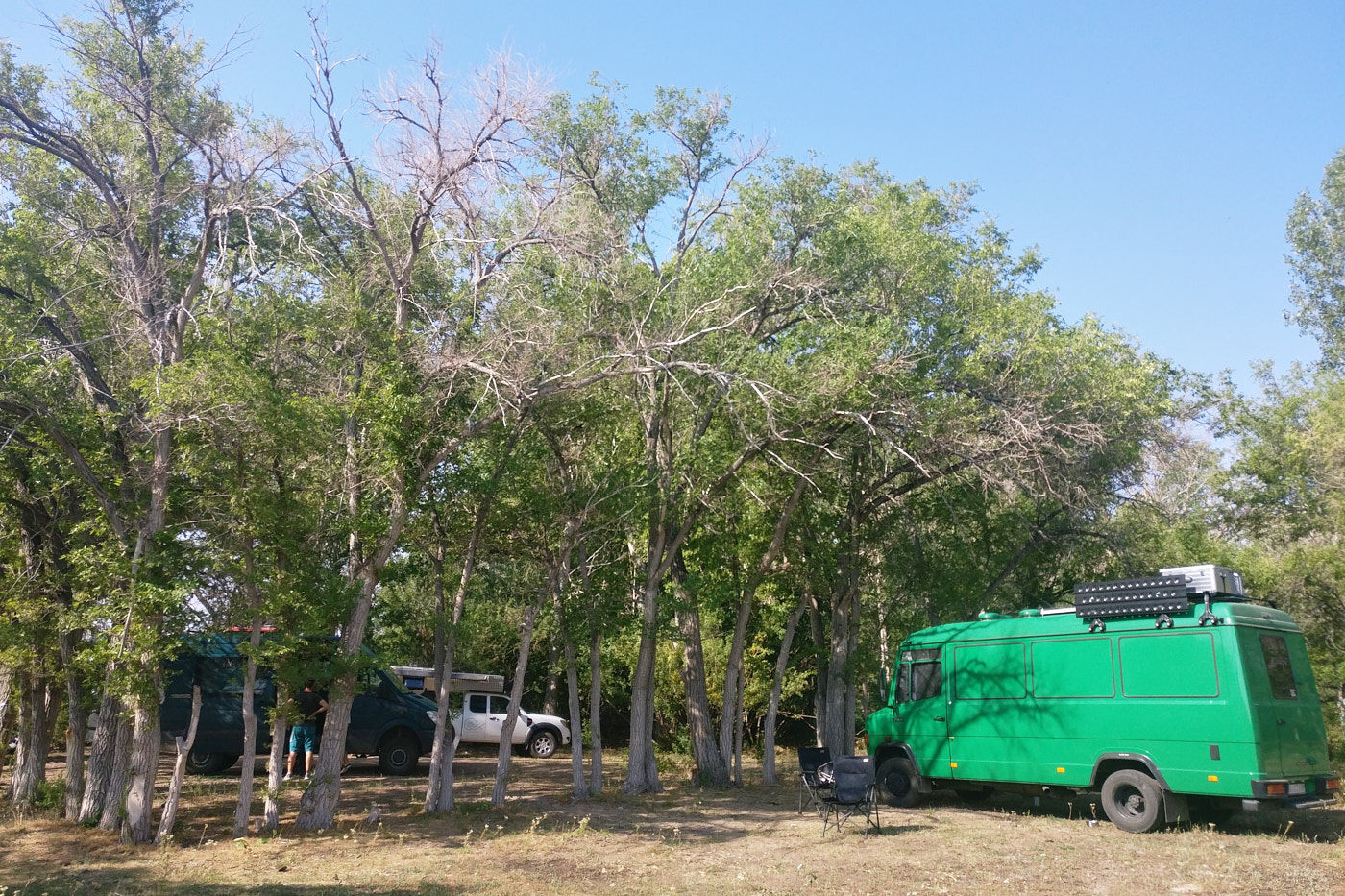 Schattiger Platz unter Bäumen bei Bektau Ata und wunderbare Gesellschaft.