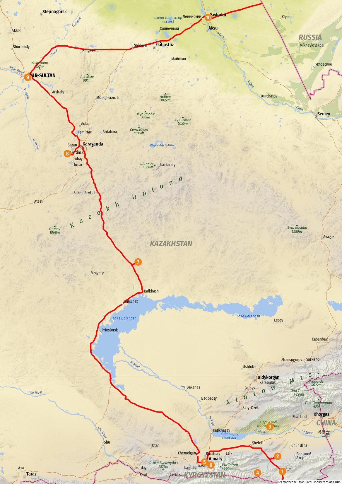 Transit durch Kasachstan - Übersicht der Route und der besuchten Highlights – Karte erstellt mit www.mapz.com.