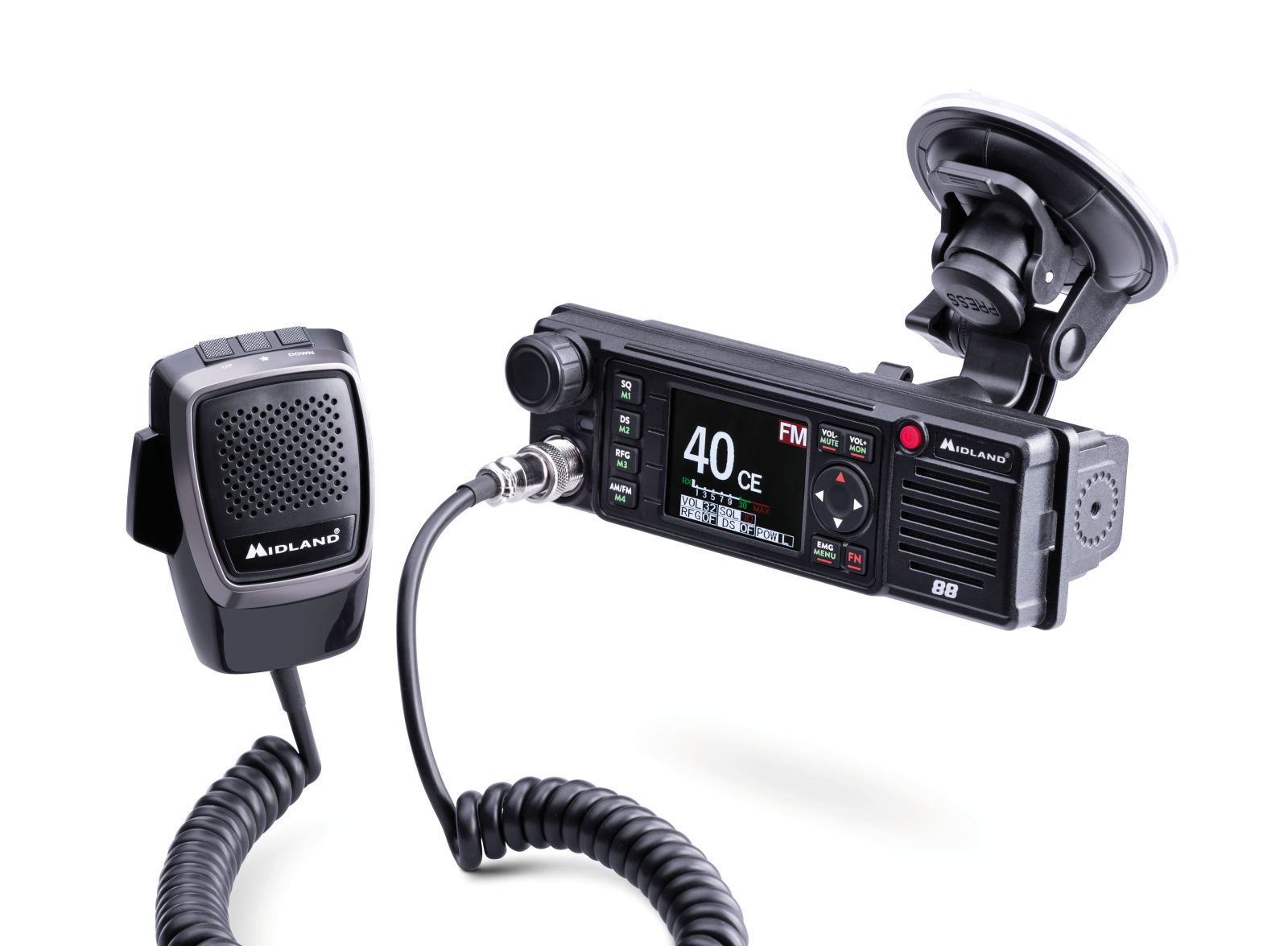CB-Funkgerät von Midland M-88 - So klein und leicht, es geht auch mit einem Saugnapf.