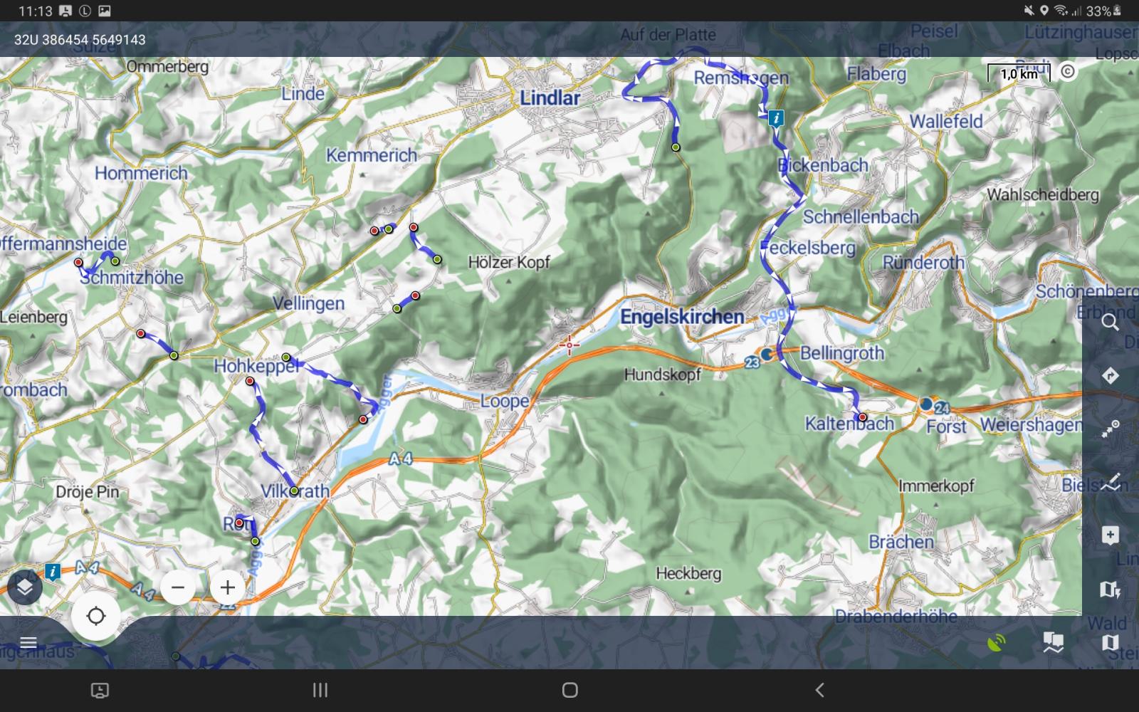 Die neue Oberfläche von Locus Map 4.